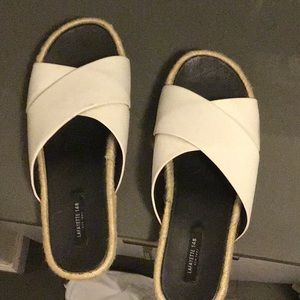 Lafayette white leather slides